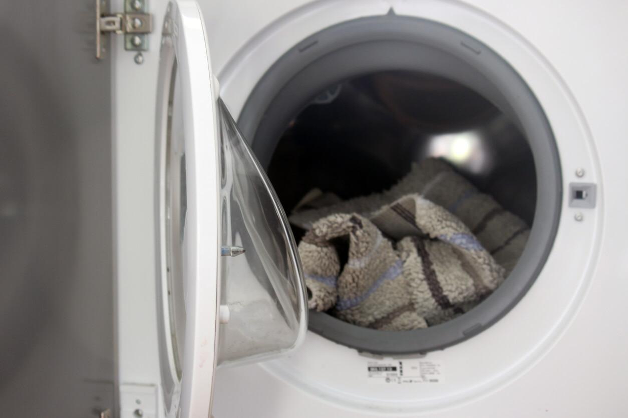 Bathroom rug in washing machine