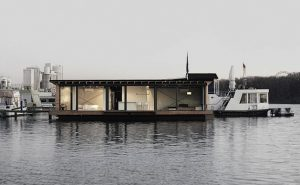 Outdoor view of modern houseboat